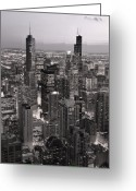 Night Greeting Cards - Chicago Loop Sundown B and W Greeting Card by Steve Gadomski