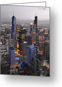 Midwest Greeting Cards - Chicago Loop Sundown BW Color Blend Greeting Card by Steve Gadomski
