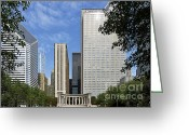 Chicago Landmarks Greeting Cards - Chicago Millennium Monument and Fountain Greeting Card by Christine Till