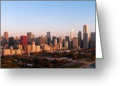 Chicago Skyline Greeting Cards - Chicago Panoramic  Greeting Card by Jeff Lewis