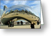 Reflected Greeting Cards - Chicago Reflected Greeting Card by Kristin Elmquist