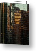 Train Photo Greeting Cards - Chicago Reflected Greeting Card by Steve Gadomski