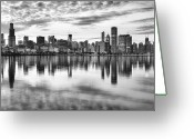 Black And White Digital Art Greeting Cards - Chicago Reflection Greeting Card by Donald Schwartz