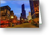 Trump Greeting Cards - Chicago River and Towers Greeting Card by Donald Schwartz