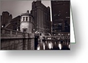 333 Greeting Cards - Chicago River Bridgehouse Greeting Card by Steve Gadomski