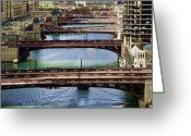 Tom Biegalski Greeting Cards - Chicago River Bridges Greeting Card by Tom Biegalski