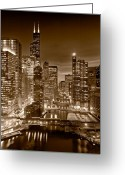 Building Greeting Cards - Chicago River City View B and W Greeting Card by Steve gadomski