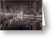 Dusk Greeting Cards - Chicago River East BW Greeting Card by Steve Gadomski