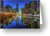 Riverwalk Greeting Cards - Chicago River East Greeting Card by Steve Gadomski