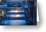 Midwest Greeting Cards - Chicago River First Light Greeting Card by Steve Gadomski
