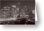 Train Photo Greeting Cards - Chicago River Panorama B W Greeting Card by Steve Gadomski