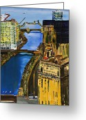 Chicago Landmarks Greeting Cards - Chicago River Skyline Greeting Card by Chicago Oil Paintings By Gregory A Page