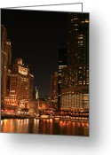 Trump Greeting Cards - Chicago River Skyline Greeting Card by Timothy Johnson