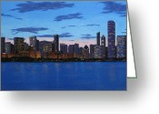 Chicago Artist Greeting Cards - Chicago Skyline -- Evening Approaches Greeting Card by J Loren Reedy