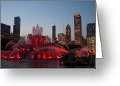 Chicago Skyline Greeting Cards - Chicago Skyline and Buckingham Fountain Greeting Card by Sven Brogren