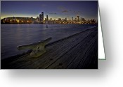 Lake Michgan Greeting Cards - Chicago skyline and Harbor at dusk Greeting Card by Sven Brogren