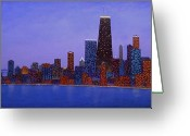 Chicago Artist Greeting Cards - Chicago Skyline at Dusk from North Ave Beach pier Greeting Card by J Loren Reedy