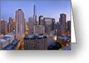 Tall Building Greeting Cards - Chicago skyline at dusk Greeting Card by Scott Norris