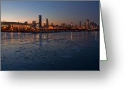 Chicago Skyline Greeting Cards - Chicago skyline at Dusk Greeting Card by Sven Brogren