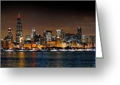 Night Scene Greeting Cards - Chicago Skyline at NIGHT Extra Wide Panorama Greeting Card by Jon Holiday