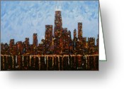 Chicago Artist Greeting Cards - Chicago Skyline at Night from North Avenue Pier Greeting Card by J Loren Reedy