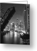 White Greeting Cards - Chicago Skyline - Black and White Sears Tower Greeting Card by Horsch Gallery