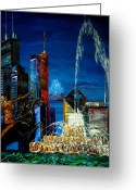 Chicago Landmarks Greeting Cards - Chicago Skyline Buckingham Fountain Sears Tower Trump Tower AON Building Greeting Card by Chicago Oil Paintings By Gregory A Page