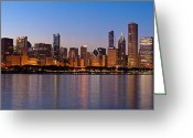 Lake Michigan Greeting Cards - Chicago Skyline Evening Greeting Card by Donald Schwartz