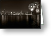 4th Photo Greeting Cards - Chicago Skyline Fireworks BW Greeting Card by Steve Gadomski