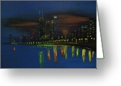 Chicago Landmarks Greeting Cards - Chicago Skyline Impressionism Greeting Card by Chicago Oil Paintings By Gregory A Page