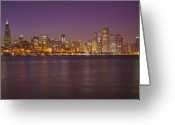 Lake Photographs Greeting Cards - Chicago Skyline March 2009 windy night Greeting Card by Donald Schwartz