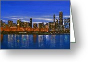 Chicago Artist Greeting Cards - Chicago Skyline--Nocturnal Glow Greeting Card by J Loren Reedy