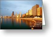 Sebastian Musial Greeting Cards - Chicago Skyline Greeting Card by Sebastian Musial
