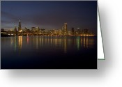 Water Reflections Greeting Cards - Chicago Skyline  Greeting Card by Timothy Johnson