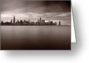 Storm Cloud Greeting Cards - Chicago Storm Greeting Card by Steve Gadomski