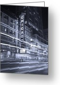Historic Street Greeting Cards - Chicago Theater Marquee B and W Greeting Card by Steve Gadomski