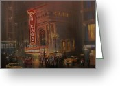 Chicago Landmarks Greeting Cards - Chicago Theatre Greeting Card by Tom Shropshire