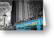Selective Color Greeting Cards - Chicago Tour Bus Greeting Card by Madeline Ellis