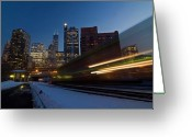 Chicago Skyline Greeting Cards - Chicago Train Blur Greeting Card by Sven Brogren