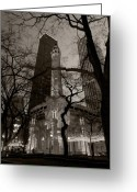 Night Greeting Cards - Chicago Water Tower B W Greeting Card by Steve Gadomski