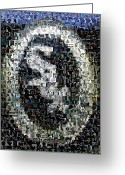 Mlb Mixed Media Greeting Cards - Chicago White Sox Ring Mosaic Greeting Card by Paul Van Scott
