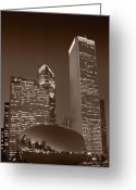 Twilight Greeting Cards - Chicagos Millennium Park BW Greeting Card by Steve Gadomski