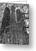 Buildings Drawings Greeting Cards - Chicagos Watertower Place Greeting Card by Bruce Kay
