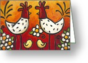 Chickens Greeting Cards - Chick Talk Greeting Card by Renee Womack