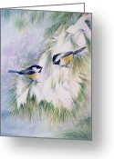 Winter Painting Greeting Cards - Chickadee Chat Greeting Card by Patricia Pushaw