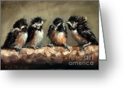 Baby Birds Greeting Cards - Chickadee Chicks Greeting Card by Lisa Phillips Owens