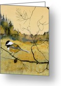 Fabric Greeting Cards - Chickadee In Dancing Pine Greeting Card by Carolyn Doe