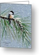 Flurries Greeting Cards - Chickadee Set 8 - Bird 1 - Snow Chickadees Greeting Card by Kathleen McDermott