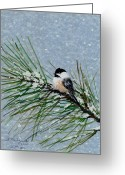 Flurries Greeting Cards - Chickadee Set 8 - Bird 2 - Snow Chickadees Greeting Card by Kathleen McDermott