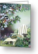 Green And White Greeting Cards - Chickadees with cherry blossoms in garden  Greeting Card by Gina Femrite
